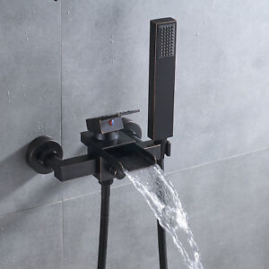 Oil Rubbed Bronze Wall Mount Tub Faucet Waterfall Single Handle Tap