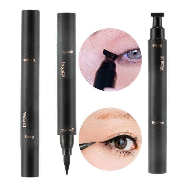 2 In 1 Waterproof Makeup Liquid Eyeliner Wing Stamp Cat Eye Lasting Beauty