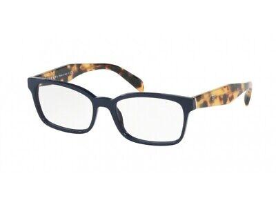 Diligente Occhiali Da Vista Montatura Prada Autentici Pr 18tv Blu Vib1o1