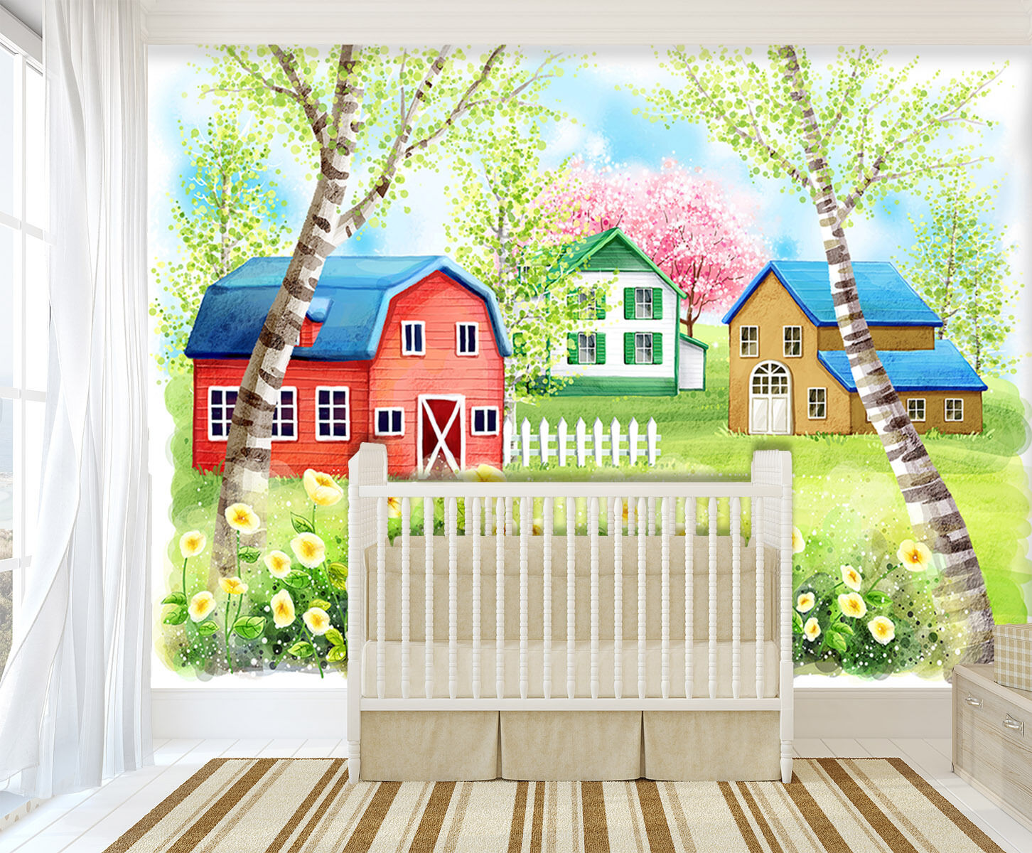 3D flower house Farbeful view Wall Paper Print Decal Wall Deco Indoor wall Mural