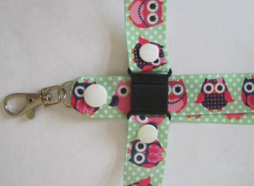 2 sizes Owl lanyard breakaway ID holder ID badges ribbon wildlife cute funky
