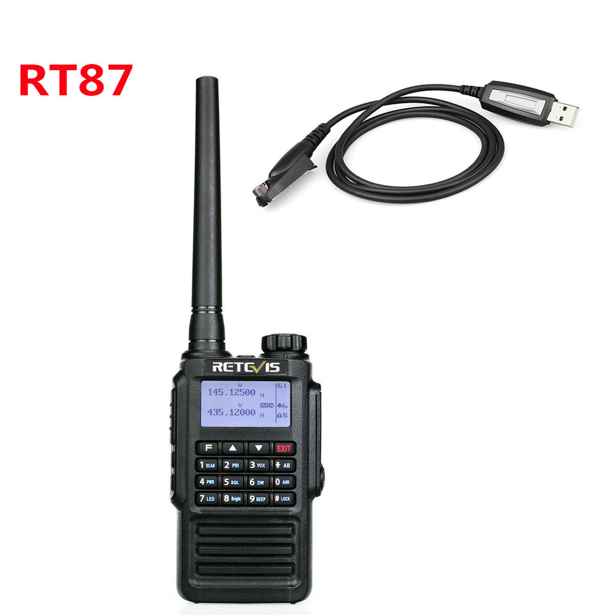 New Retevis RT87 FM IP67 128CH VHF136-174MHz/UHF400-480MHz DTMF Radio+USB Cable