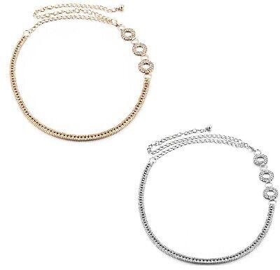 112cm Regolabile Argento Oro Diamante Strass Moda Catena Ciondolo Vita Cinture