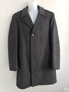 Vtg Men's Stratojac Charcoal black Wool Overcoat Trench Coat Size 40 80% Wool