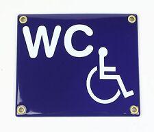 Emaille Schild WC Behinderte Toilette Behindertentoilette Rollstuhl 14x10cm neu