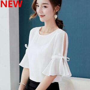 Summer-Shirt-Ladies-Fashion-Blouse-Chiffon-Top-T-Shirt-Women-Loose-Short-Sleeve
