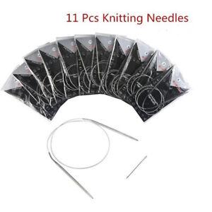 "11pcs Stainless Steel Circular Knitting Needles Crochet Hook Weave 47""120cm  Cw"