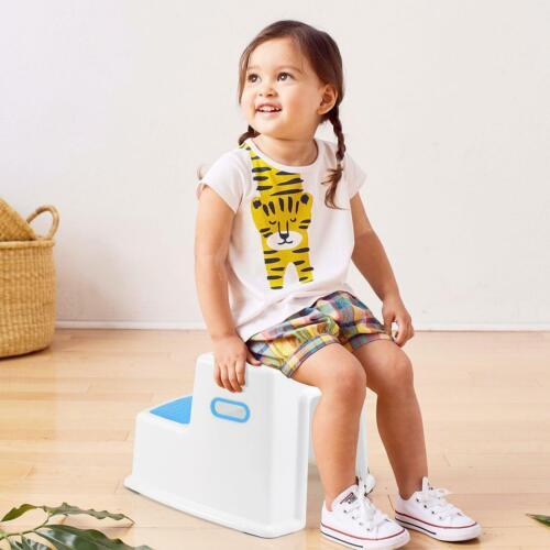Kids Childrens Non Slip Dual Height Step Stool Toilet Potty Training Blue