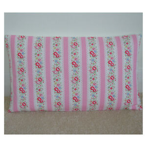 Cath-Kidston-Pink-Bolster-Cushion-Cover-Oblong-12x20-Lace-Pink-Floral-Stripe