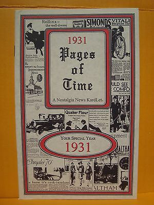 1931 YEAR PAGES OF TIME YOUR SPECIAL 1931 ADVERTISEMENTS NOSTALGIA NEWS PHOTOS