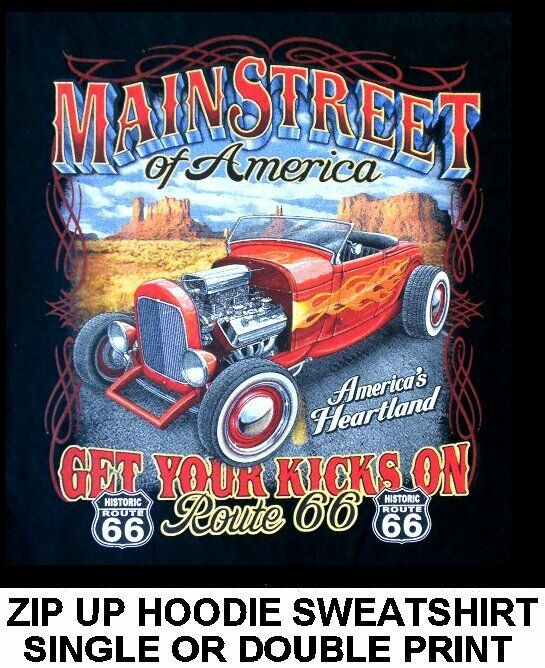 MAIN STREET AMERICA ROUTE 66 HOT RAT STREET ROD SKULL ZIP HOODIE SWEATSHIRT 582
