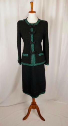 NWT Adolfo Black Knit Wool 2 Pc Skirt Suit Jacket