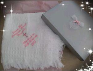 PERSONALISED BABY WAFFLE BLANKET SUPER SOFT NEWBORN CHRISTENING BABY SHOWER GIFT