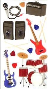 ROCK and ROLL Music - Sticko Stickopotamus Scrapbooking Craft Sticker Sheet