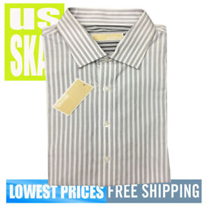 Michael-Kors-Men-039-s-NWT-17-34-35-Grey-Stripe-Long-Sleeve-Button-Front-Shirt