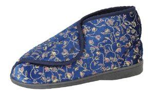 Zedzzz GERALDINE Ladies Washable Touch Fasten Floral Comfort Bootee Slippers