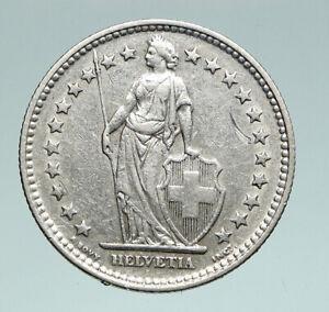 1940 SWITZERLAND -  HELVETIA Symbolizes SWISS Nation SILVER 2 Francs Coin i91002