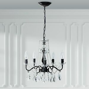 Details About Rustic Crystal Pendant Chandelier Swag Plug In Lamp Lighting Ceiling Fixture