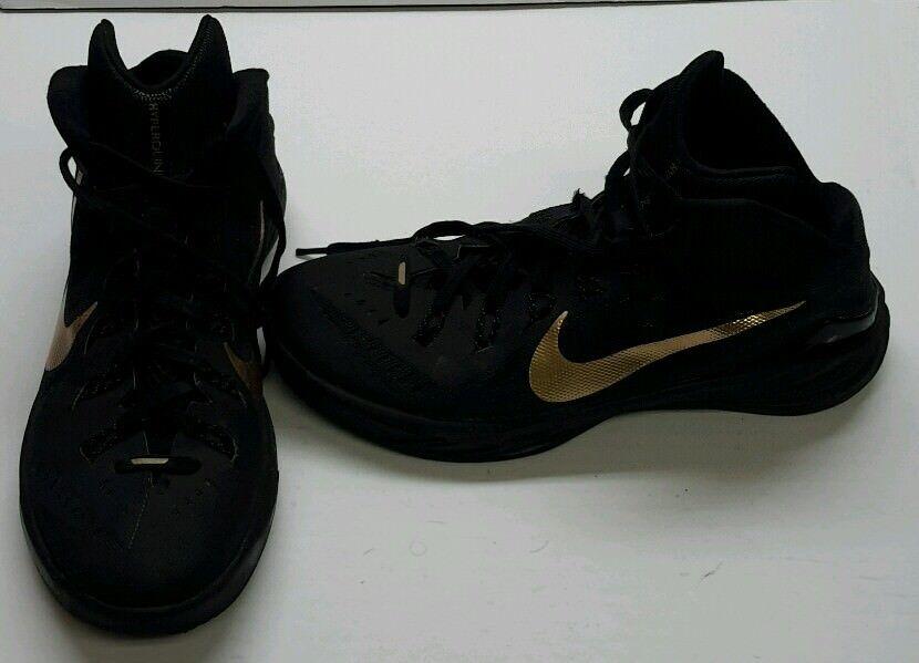 NIKE Hyperdunk 2014 Black Metallic Gold 9.5 Basketball Shoes Sneakers Mens 9.5 Gold 526eae