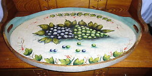 Contemporary Decorative Oval Serving Tray Grapes