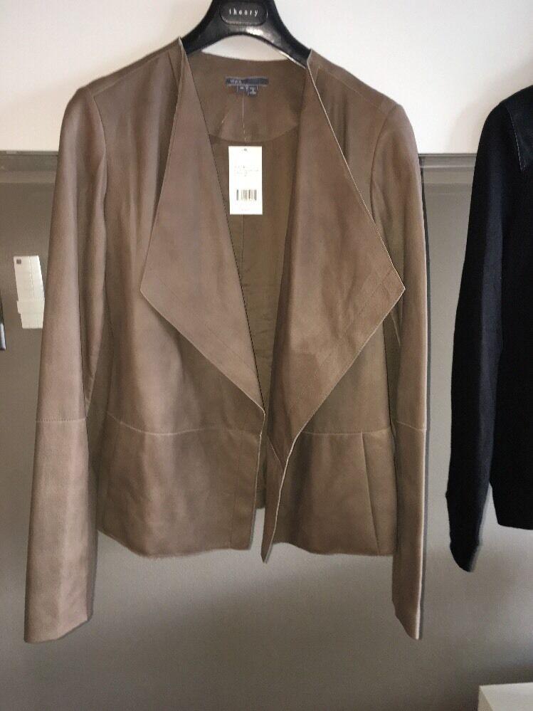 Vince Größe M Draped Front Leather Jacket Retail
