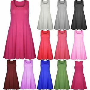 Womens-Swing-Dress-Ladies-Plain-Sleeveless-Flared-Skater-Long-Vest-Top-Dresses