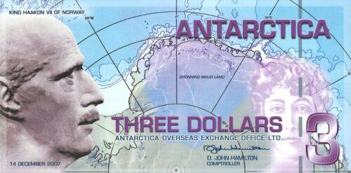 Antarctica 2007 polymer 3 dollars fantasy note International Polar Year