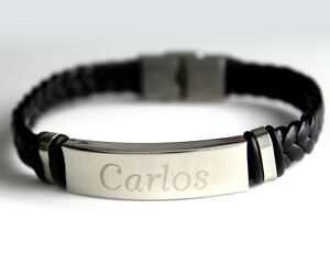 Leather Braided Engraved - Gifts