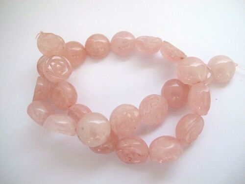 Rose quartz carved flower beads 16mm