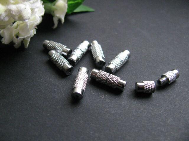 8 Drehverschlüsse, silberfarben, 12x4mm, Schmuck mit Perlen basteln, Verschluss