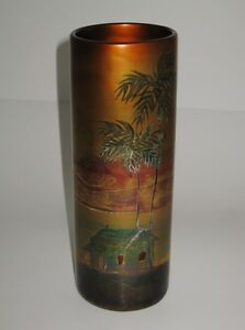 Weller-LaSa-Vase-8-1-2-034-Tall-Palm-Trees-with-House