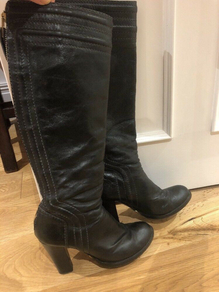 Chloe Black Leather Knee High Boots Size 6 Zip Heel  Receipt Worn 5 Times