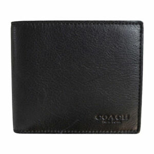 7669f62c1747 Coach F74991 Black Compact ID Mens Wallet in Sport Calf Leather for ...