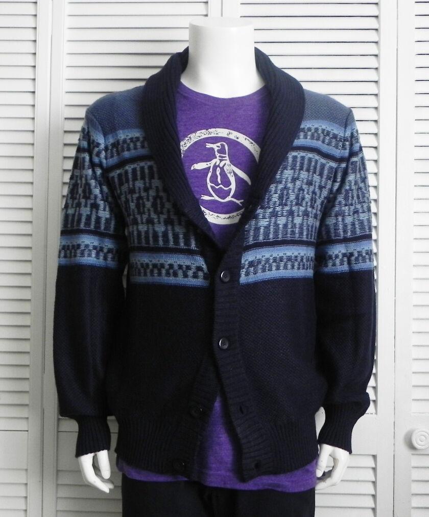 NEW  Herren SIZE XL ALPACA Navy Blau Shawl Collar Pattern Cardigan Sweater PERU