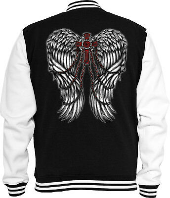 Gothic T-Shirt Flügel Kreuz Rock Metal  Rockabilly Tattoo Black