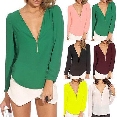 Fashion Sexy V-neck Women Chiffon Tops Long Sleeve Shirt Casual Blouse T-Shirts