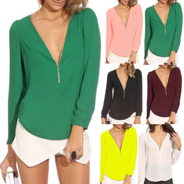 Summer Womens Ladies Chiffon Top Blouse T-Shirt Zip Neck Long Sleeve Shirt