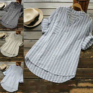 Womens-Summer-Striped-V-Neck-Blouses-Loose-Baggy-Tops-Tunic-T-Shirts-Plus-Size