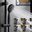5 Functions Massage Rainfall Round ABS Hand Held Single Shower Head,Black Plated