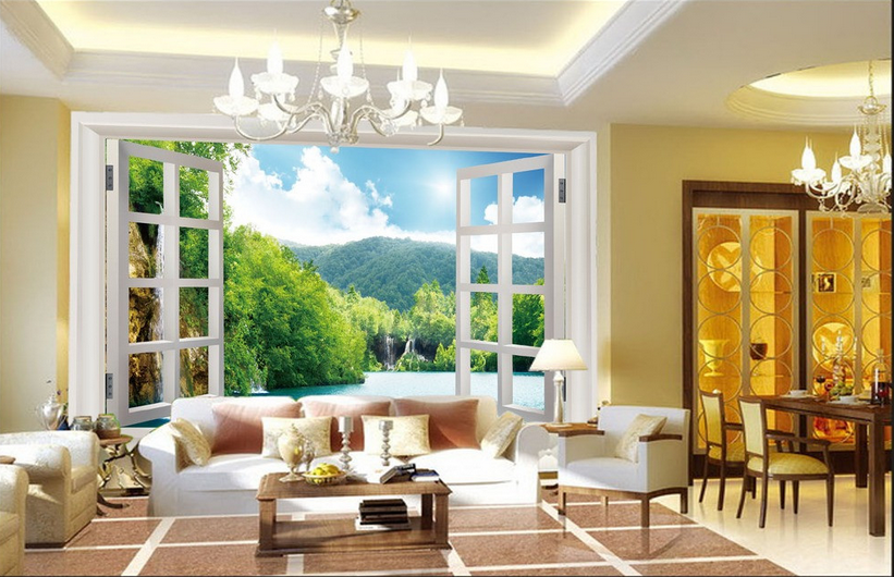 3D Window Landscape 839 Wallpaper Mural Paper Wall Print Wallpaper Murals UK