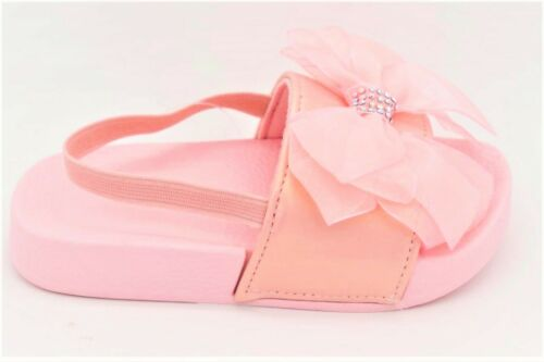 NEW KIDS INFANTS CHILDRENS BABY SIDES SLIDERS BOW DIAMANTE SUMMER SANDALS SHOES
