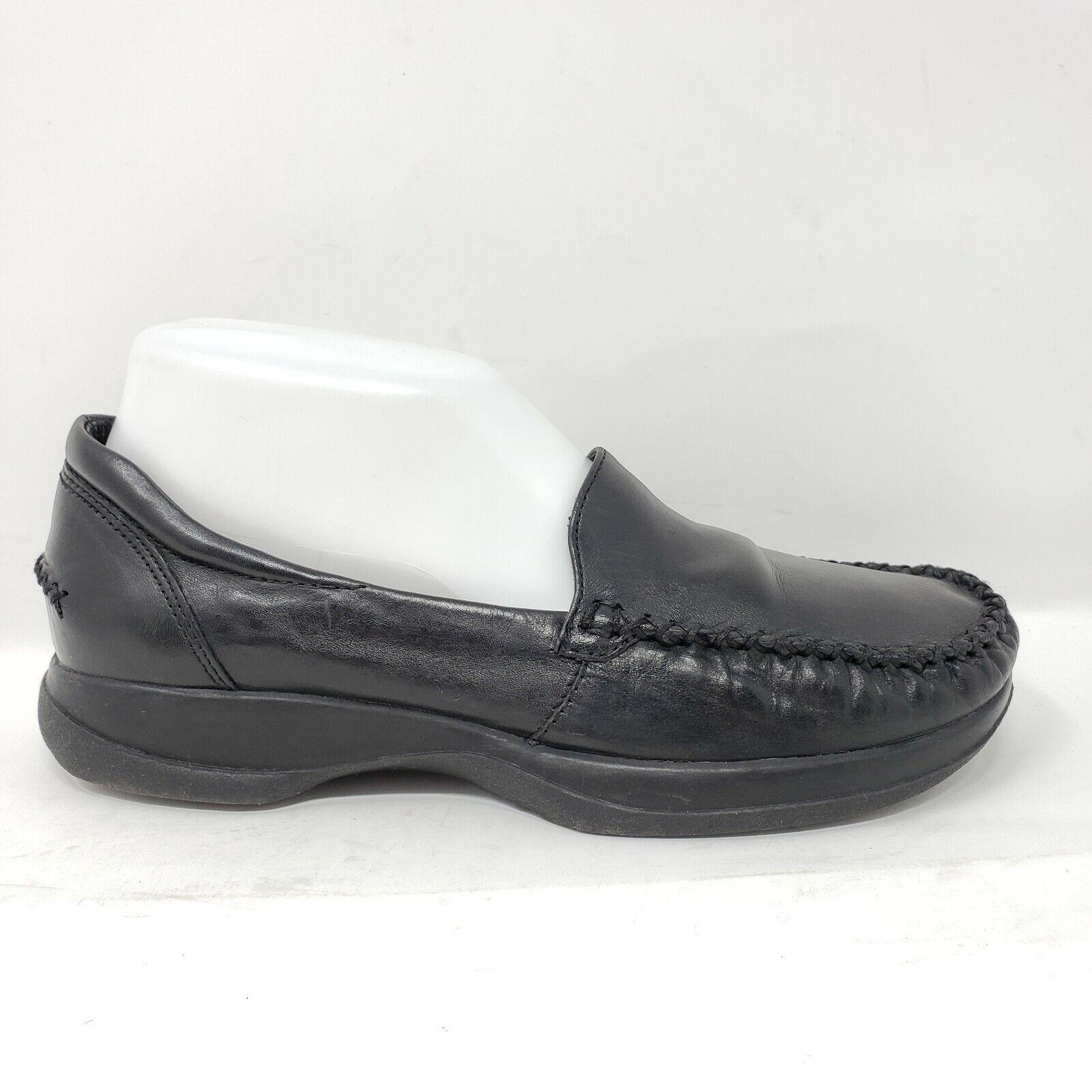 Thom McAn Women's Shoes Sz 6 Black Leather Moc Toe Loafers Slip On EUC