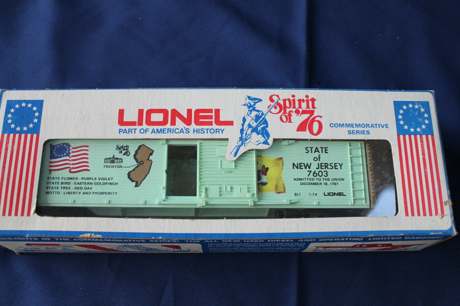 1974 Lionel 6-7603 State of New Jersey Spirit of '76 Commem Box Car L2973