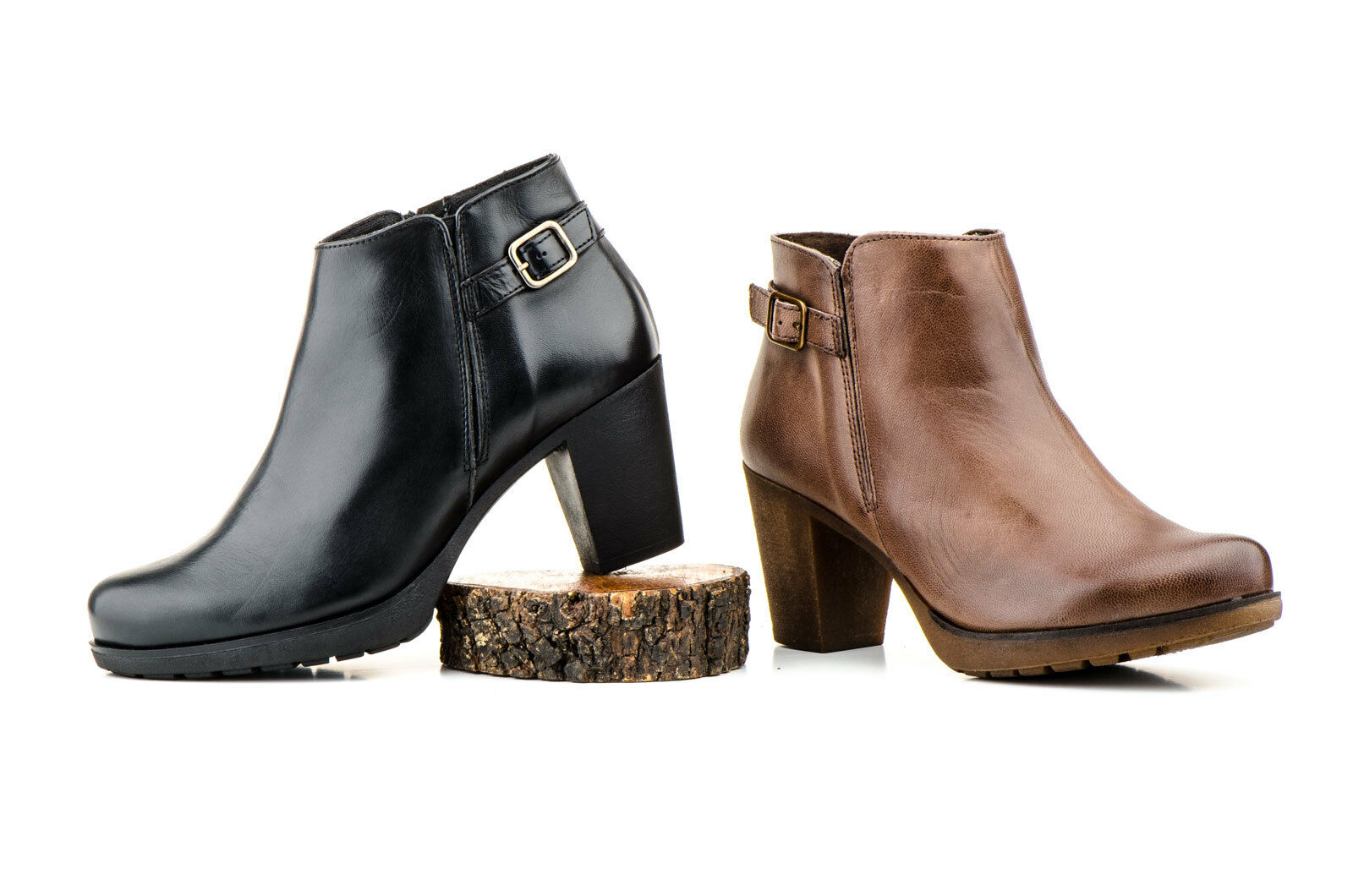 Ankle boots Leather for women Black with Buckle Black women Brown Size 36 37 38 39 40 41 3d111b