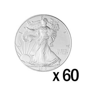 60 x 1 oz Silver 2018 Eagle Coin - 2018 US .9999 Silver - United States Mint