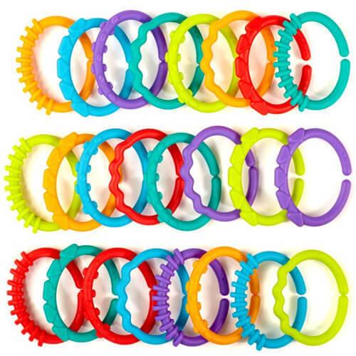 Plastic Baby Kids Infant Stroller Gym Play Mat Toys Rainbow Teether Ring Links U