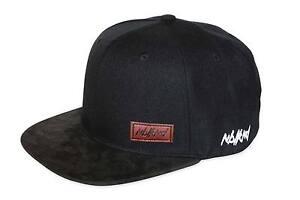 Nebelkind-Snapback-Cap-schwarz-schlicht-Schirm-aus-synthetischem-Leder-onesize
