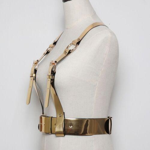 Les femmes en cuir synthétique corps harnais porte-jarretelles Type Large Ceinture Pin Boucle Fermer