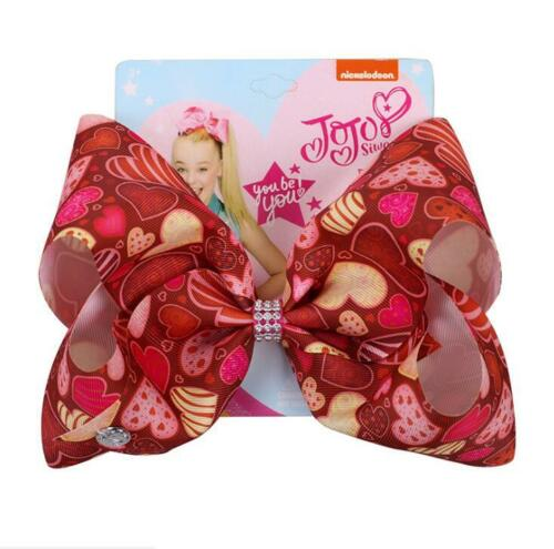 8 Inch JOJO SIWA Large Hair Bow Rainbow Valentine/'s Day Love Hairclip Hairpin