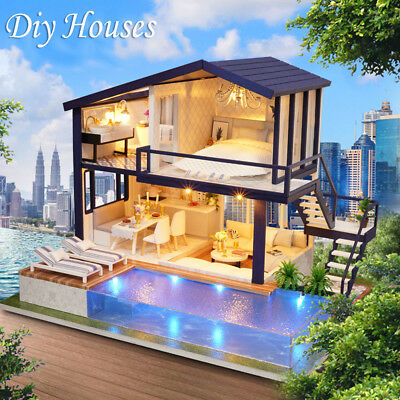 Doll House Furniture DIY 3D Wooden Time Apartment  Toys Gift